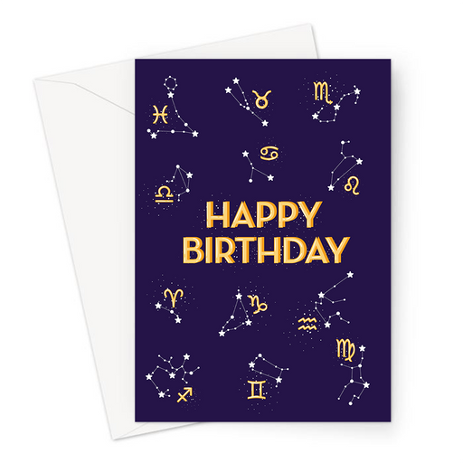 Happy Birthday Astrology Greeting Card | Happy Birthday Card For Astrologer, Zodiac, Star Signs, Chart, Water Sign, Air Sign, Fire Sign, Eartch Sign