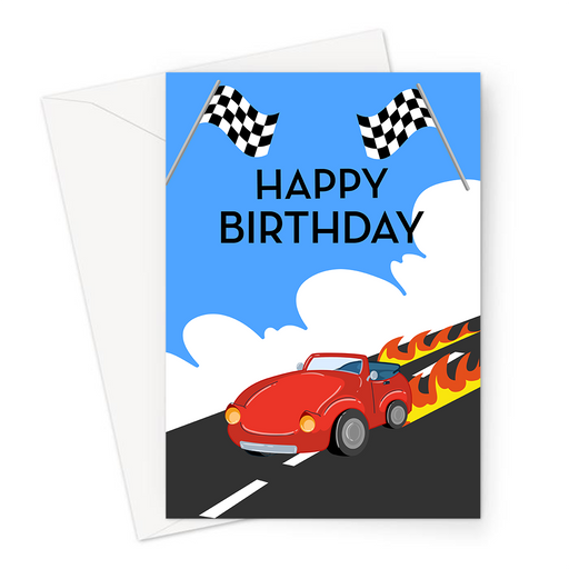 Happy Birthday Cars Greeting Card | Happy Birthday Card For Car Enthusiast, Petrol Head, Formula One, Kit Car, Racing Car, Car DRiving With Flames
