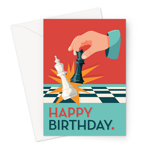 Happy Birthday Chess Greeting Card | Happy Birthday Card For Chess Player, Board Game, Player Knocking Over Queen With King, Check Mate, Chess Board