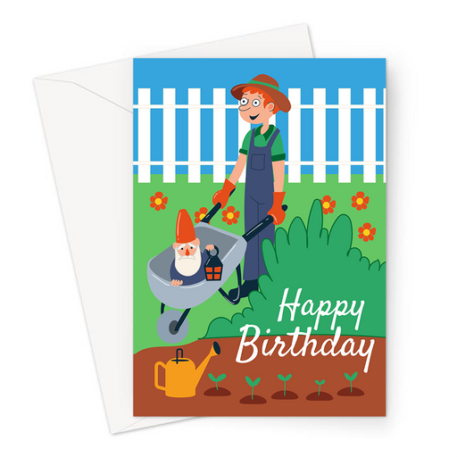 Happy Birthday Gardening Greeting Card | Happy Birthday Card For Gardener, Gardener Pushing Wheelbarrow With Gnome, Watering Can, Flowers, Seedlings