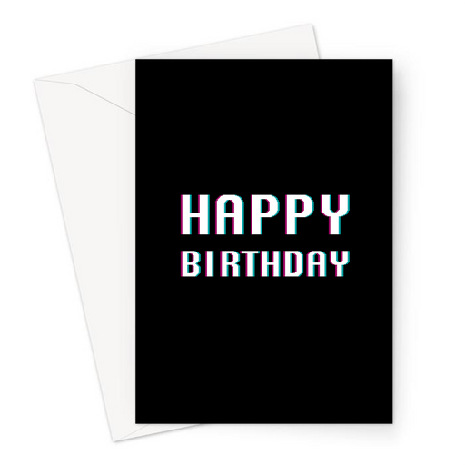Happy Birthday Greeting Card | Pixel Font Gaming Birthday Card In White For Gamer, Him, Her Gaming Obsessed