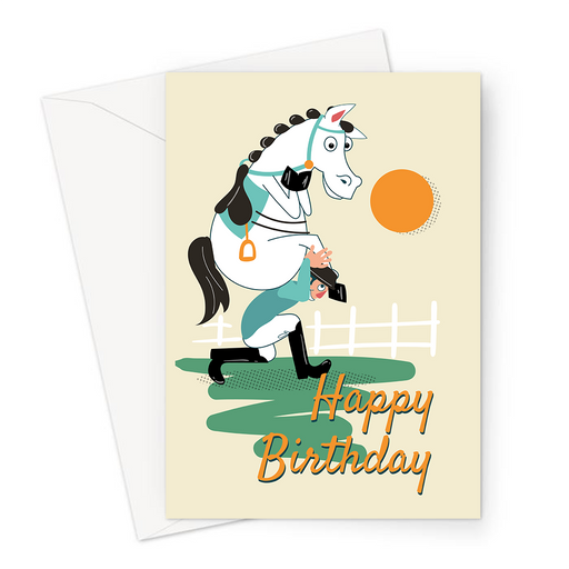 Happy Birthday Horseriding Greeting Card | Funny Happy Birthday Card For Horserider, Horse Riding On Jockey, Bridle, Stirrups, Showjumping, Equestrian