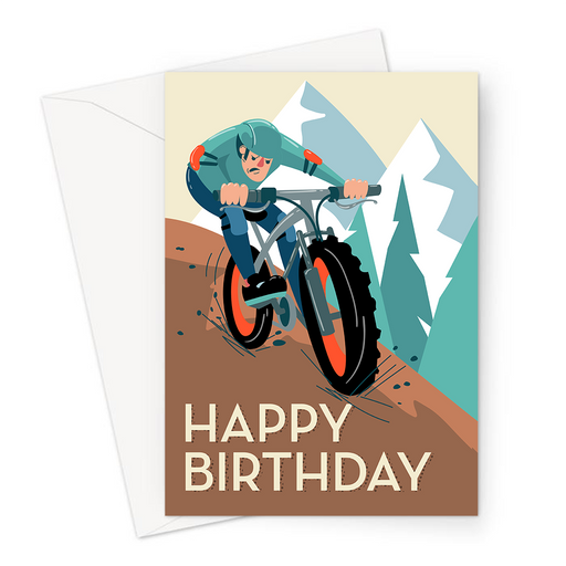 Happy Birthday Mountain Biking Greeting Card | Happy Birthday Card For Moutain Biker, Determined Mountain Biker Riding Bike Along Trail, Off Road,
