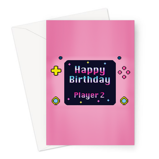 Happy Birthday Player 2 Greeting Card | Pixel Design Gaming Console Birthday Card In Pink For Gamer, Her, Gaming Obsessed, Gaming Couple, Girlfriend, Wife
