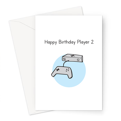 Happy Birthday Player 2 Greeting Card | Birthday Card For Gamer, Boyfriend, Girlfriend, Husband, Wife, Gaming Obsessed, Games Console Doodle