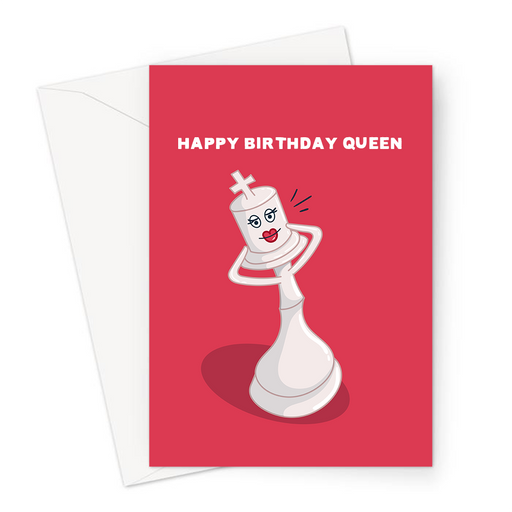 Happy Birthday Queen Greeting Card | Funny, Chess Pun Birthday Card, Flirty Queen Chess Piece With Pouty Lips, For Chess Player, Her, Gay Man, LGBTQ+