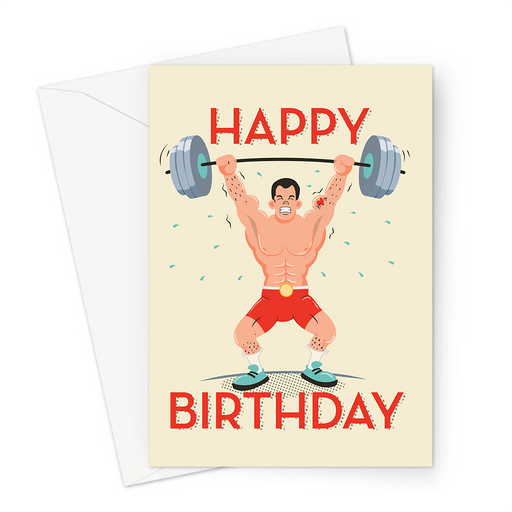 Happy Birthday Weight Lifting Greeting Card | Happy Birthday Card For Weight Lifter, Weight Lifter Lifting Heavy Weights With Heart And Arrow Tattoo