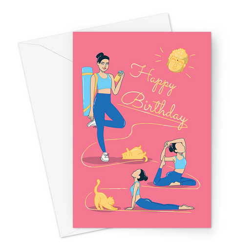 Happy Birthday Yoga Greeting Card | Happy Birthday Card For Yogi, Girl With Yoga Mat, Yoga Poses, Upward Facing Dog, One Legged Pigeon Pose