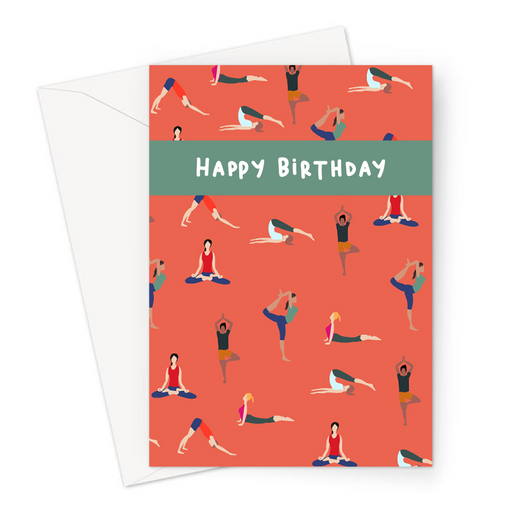 Happy Birthday Yoga Poses Greeting Card | Birthday Card For Yogi, Lotus Pose, Cobra Pose, Downward Facing Dog, Tree Pose, Namaste