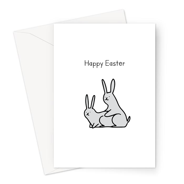 Happy Easter Greeting Card | Rude, Funny Easter Card, Two Bunnies Humping Doodle, Rabbits, Easter Bunny, Spring