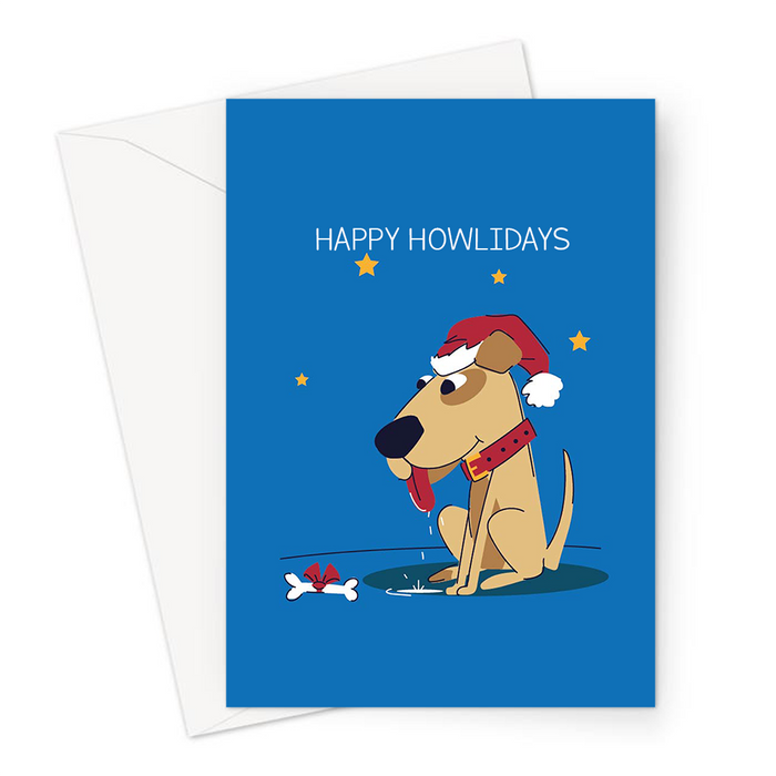 Happy Howlidays Greeting Card | Dog In A Santa Hat, Funny Dog Christmas Card For Dog Owner, Dog Lover, Puppy, Canine