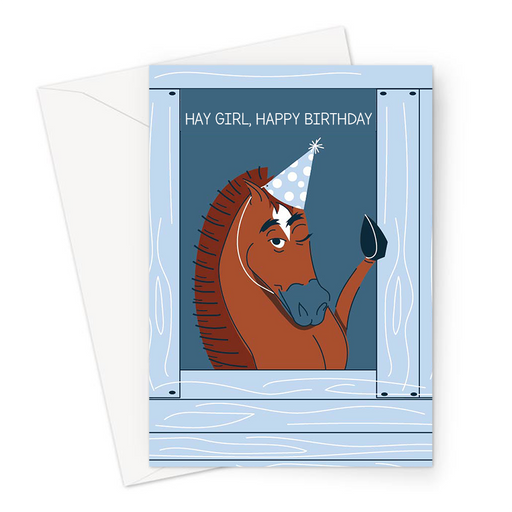 Hay Girl, Happy Birthday Greeting Card | Funny Horse Pun Birthday Card, Flirty Horse In A Party Hat, Pony, Equestrian Birthday Card