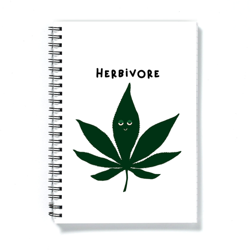 Herbivore A5 Notebook | Weed Journal, Diary, Punny Gift For Stoner, Weed Smoker, Vegan Stoner, Cannabis, Marijuana, Ganja, Hash, Pot