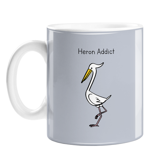 Heron Addict Mug | Gift For Twitchers, Bird Watcher, Nature Enthusiast, Ornithology, Birdwatching