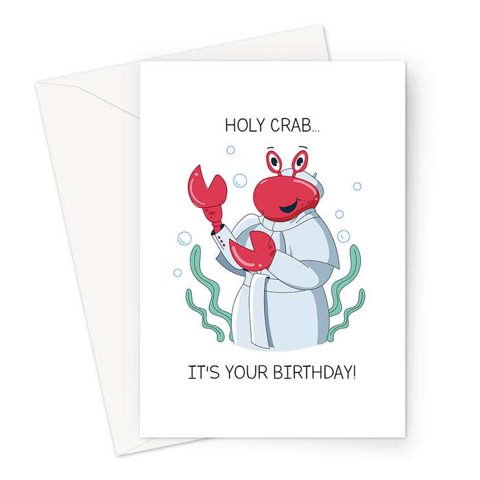 Holy Crab... It's Your Birthday! Greeting Card | Funny Crab Pun Birthday Card, Crab Dressed As The Pope, Holy Crap Crab Pun, Religion Pun