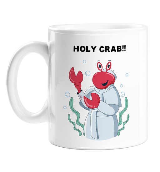Holy Crab!! Mug | Funny Crab Dressed As The Pope Coffee Mug, Religion Jokes, Christianity, Catholicism, Holy Crap Pun, Sea Animal