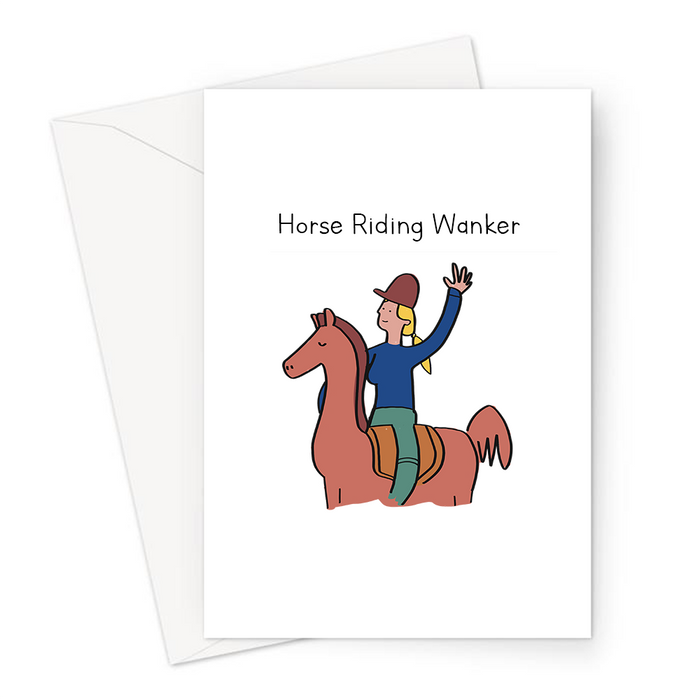 Horse Riding Wanker Greeting Card | Lady Riding A Horse, Horse Girl, Female Horse Rider, Horse Lover, Jockey, Equestrian