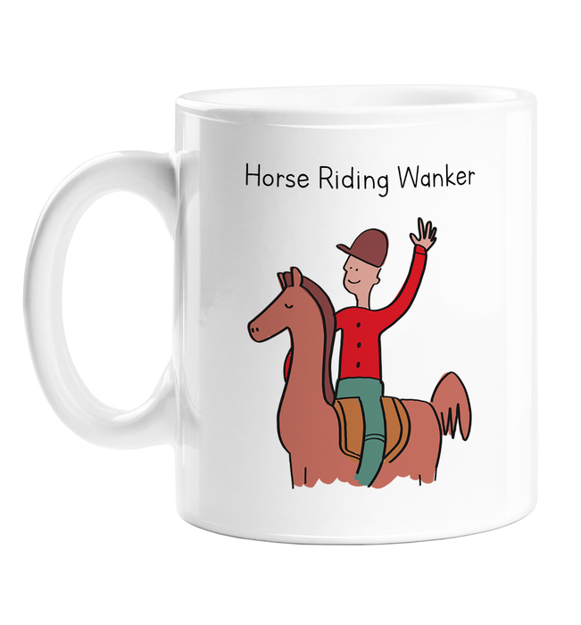 Horse Riding Wanker Mug | Man Riding A Horse Ceramic Mug, Horse Boy, Gift For Male Horse Rider, Horse Lover, Jockey, Equestrian