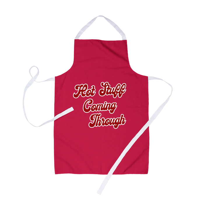 Hot Stuff Coming Through Apron | Funny BBQ Apron For Him, Funny Barbecue Apron For Her, For Partner, For Husband, For Wife