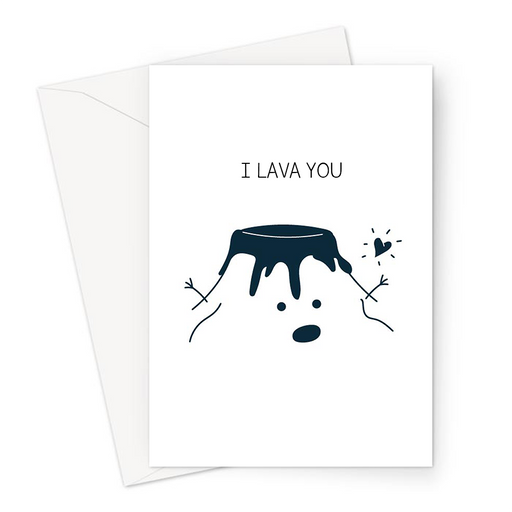I Lava You Greeting Card | Cute, Funny Volcano Pun Valentine's Card, Love, Smiling Volcano With Lava And Heart