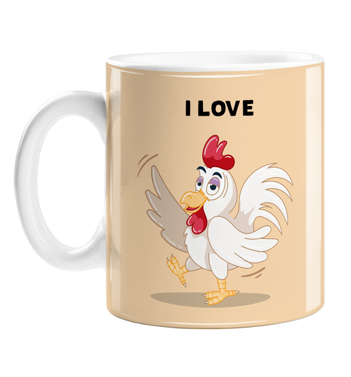 I Love Cock Mug | Funny Cockerel Pun Coffee Mug For Her, Gay Man, LGBTQ, Innuendo, Confident Looking Cockerel, Male Chicken