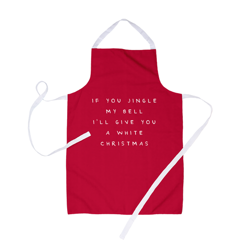 If You Jingle My Bell I'll Give You A White Christmas Apron | Rude, Funny, Red Christmas Apron, Christmas Carol Inuendo