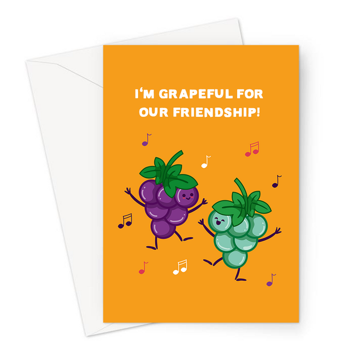 I'm Grapeful For Our Friendship! Greeting Card | Funny Grape Pun Friendship Card, Thanks, Cheers, Grateful, Gratitude, Happy Grape Bunches Dancing