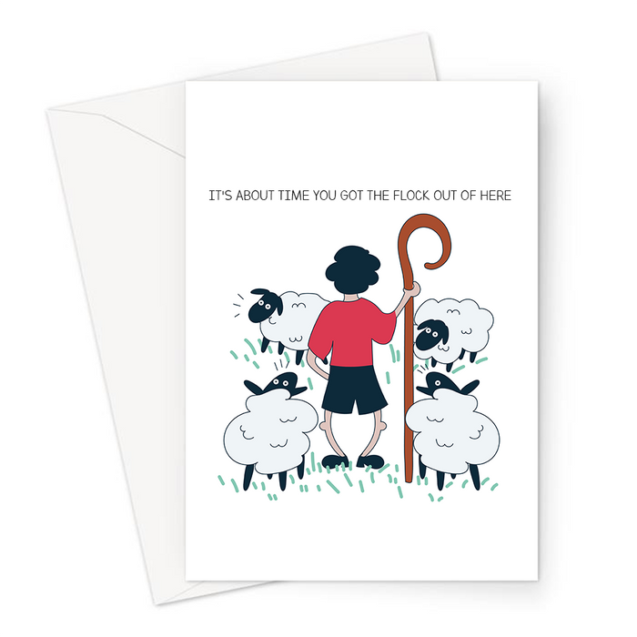 It's About Time You Got The Flock Out Of Here Greeting Card | Shepherd Pun You're Leaving Card, Going Away Travelling, Good Bye, Flock Of Sheep