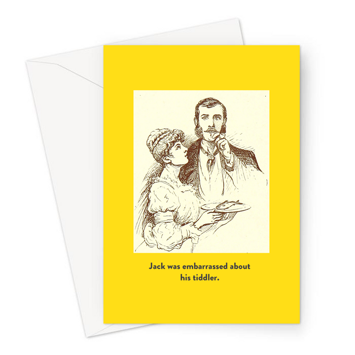 Jack Was Embarrassed About His Tiddler. Greeting Card | Funny Vintage Joke Card For Him, Man and Woman With Small Fish On A Plate, Small Penis Joke,