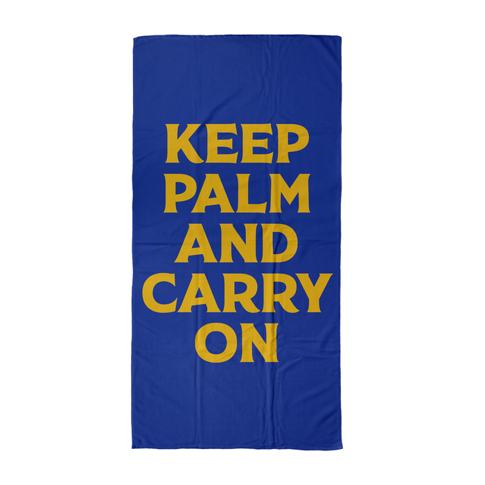Keep Palm And Carry On Beach Towel | Pun Beach Towel, Keep Calm And Carry On, Pop Art, Palm Tree Pun