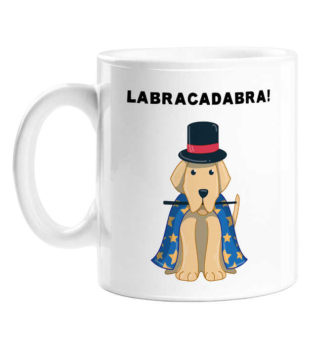 Labracadabra! Mug | Funny Dog Pun Coffee Mug, Abracadabra, Golden Labrador Dress As musician In Starry Cape