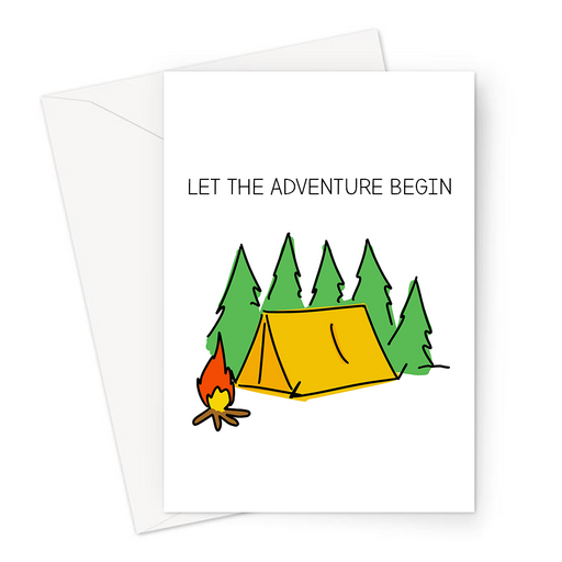 Let The Adventure Begin Greeting Card | Camping Engagement Card, Congratulations, Tent In The Woods With A Fire, Camping Couple, Getting Married