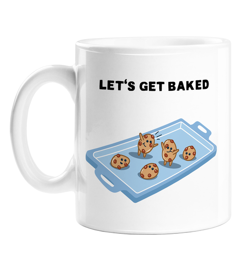Let's Get Baked Mug | Cookies On A Baking Tray Weed Pun Coffee Mug For Stoner, Weed Smoker, Cannabis, Marijuana, Mary J, Hash, Pot, Edibles