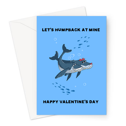 Let's Humpback At Mine Happy Valentine's Day Greeting Card | Cute, Funny Whale Pun Valentine's Card, Love, Two Humpback Whales In Love