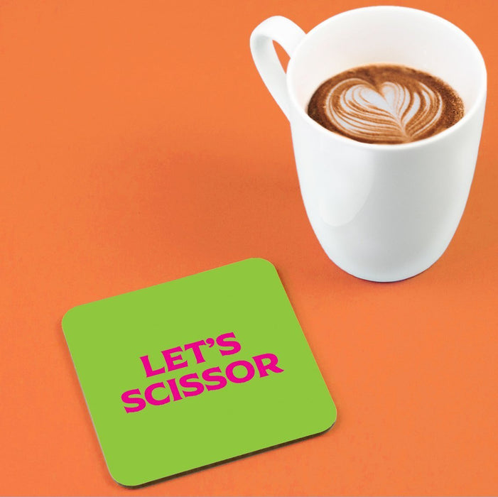 Let's Scissor Coaster | LGBTQ+ Gifts, LGBT Gifts, Gifts For Lesbians, Drinks Mat, Pop Art
