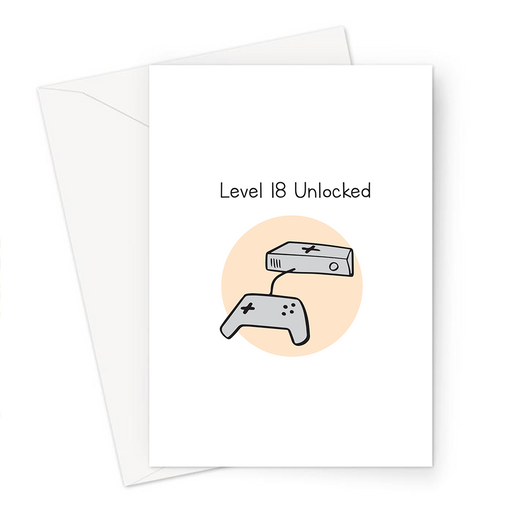 Level 18 Unlocked Greeting Card | 18th Birthday Card For Gamer, Eighteenth, Eighteen Year Old, Gaming Obsessed, Games Console Doodle