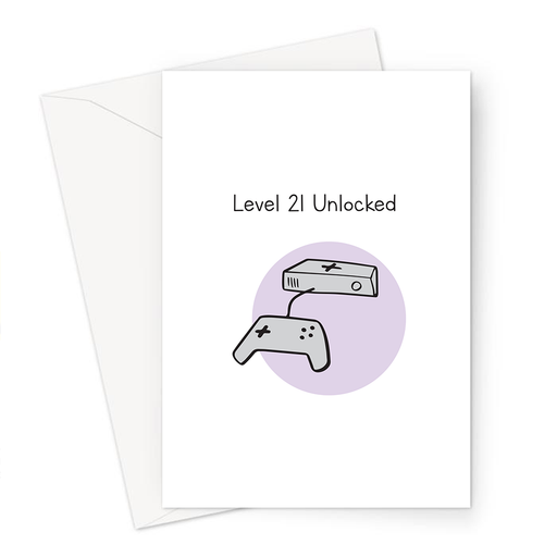 Level 21 Unlocked Greeting Card | 21st Birthday Card For Gamer, Twenty First, Twenty One Year Old, Gaming Obsessed, Games Console Doodle