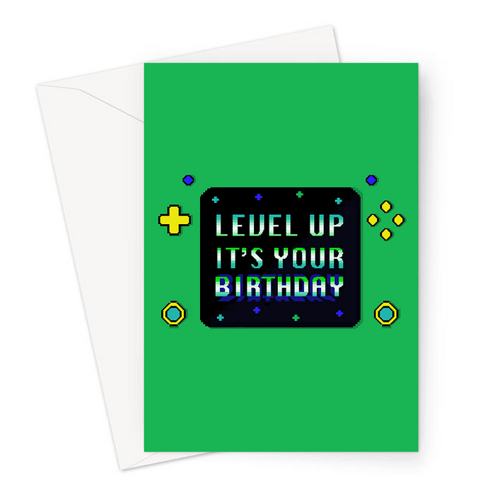Level Up It's Your Birthday Greeting Card | Pixel Design Gaming Console Birthday Card In Green For Gamer, Him, Gaming Obsessed, Boyfriend, Husband, Brother, Son