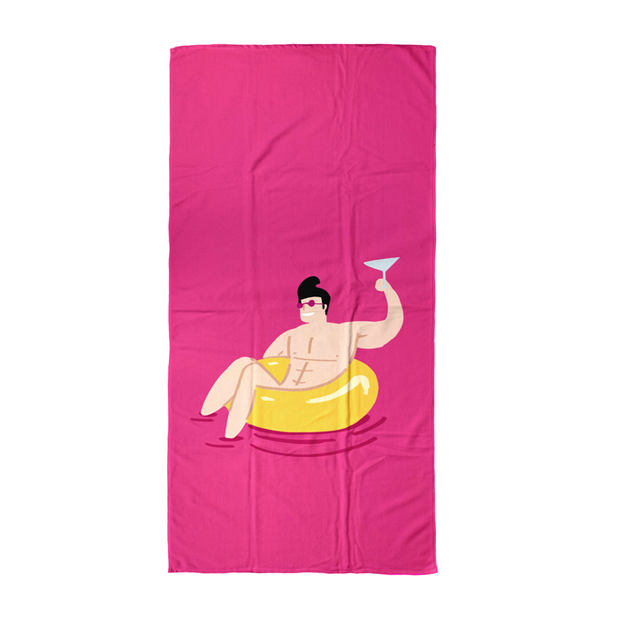 Man In Rubber Ring With Cocktail Beach Towel | Bright Pink Summer Beach Towel