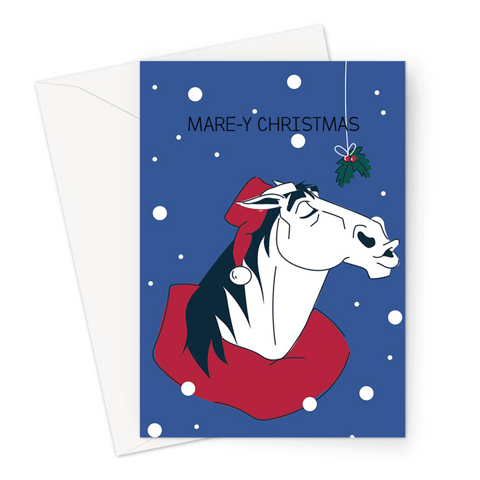Mare-y Christmas Greeting Card | Horse In A Santa Hat Waiting Under Mistletoe, Funny Horse Merry Christmas Card For Equestrian, Horse Rider