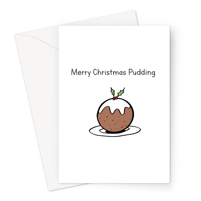 Merry Christmas Pudding Greeting Card | Funny Christmas Pudding Doodle Card For Friend, Girlfriend, Boyfriend