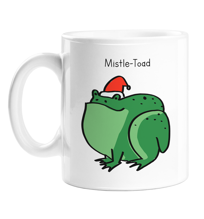 Mistle-Toad Mug | Pun Toad In A Christmas Hat Doodle Gift, Stocking Filler, Mistletoe Joke, Amphibian