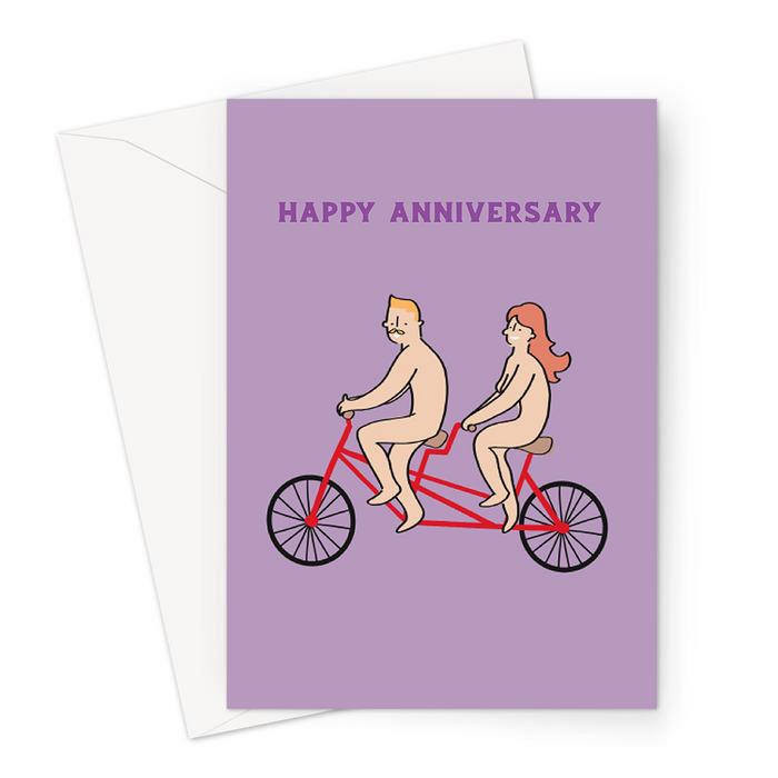 Naked Couple On Tandem Happy Anniversary Greeting Card | Funny Anniversary Card Card For Nudist Couple, For Her, For Him