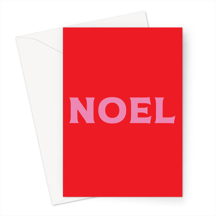 Noel Greeting Card | Brightly Coloured Christmas Card, French Christmas Card In Pink And Red, Pop Art