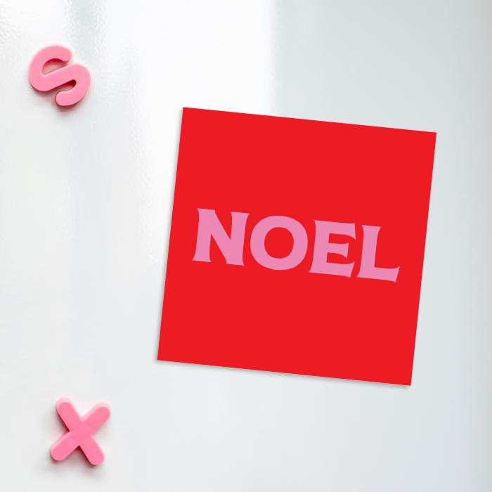 Noel Fridge Magnet | French Red And Pink Christmas Magnet, Christmas Decorations, Stocking Filler, Christmas Carol, Pop Art