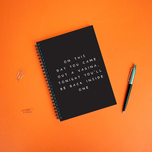 On This Day You Came Out A Vagina Tonight You'll Be Back Inside One A5 Notebook | Funny Birthday Gift For Men, Rude Notebook For Him, Birthday Journal