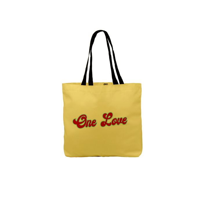 One Love Tote | Stoner, Hippie Canvas Shopping Bag, Beach, Travel, Groovy Seventies Font