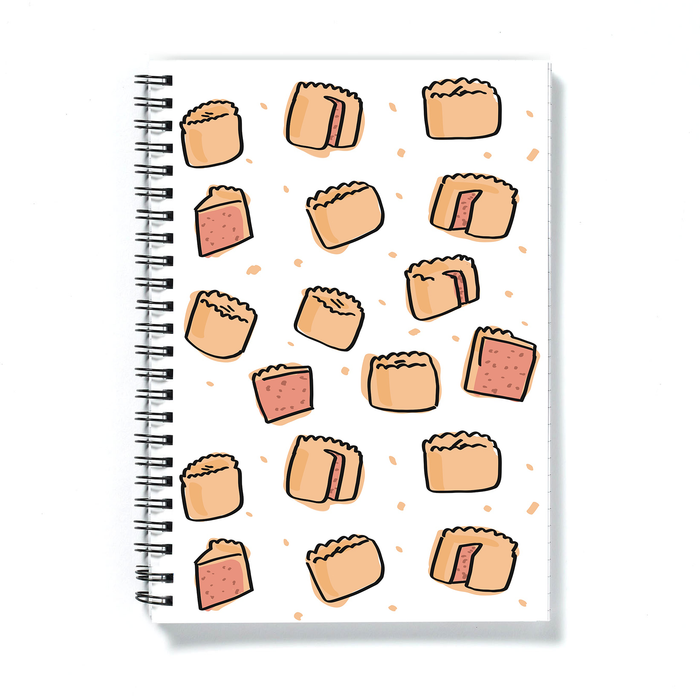 Pork Pie Print A5 Notebook | Pork Pie Pattern Notepad, Full Pork Pie, Pork Pie Slice, British Food, Pastry, Picnic Food