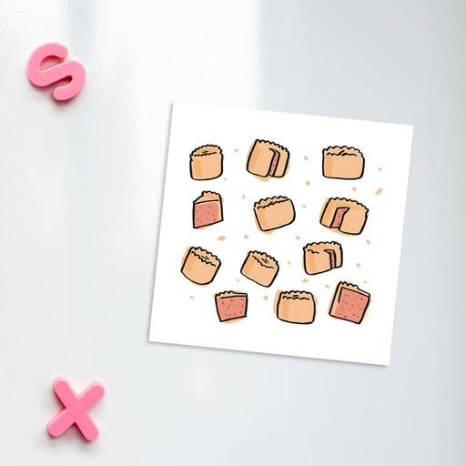 Pork Pie Print Fridge Magnet | Pork Pie Pattern Kitchen Magnet, Full Pork Pie, Pork Pie Slice, British Food, Pastry, Picnic Food