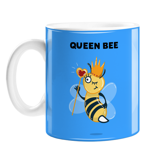 Queen Bee Mug | Funny, Bee Pun Gift For Friend, Bee In Crown With Sceptre, Royal Highness, Yass Queen, LGBTQ+